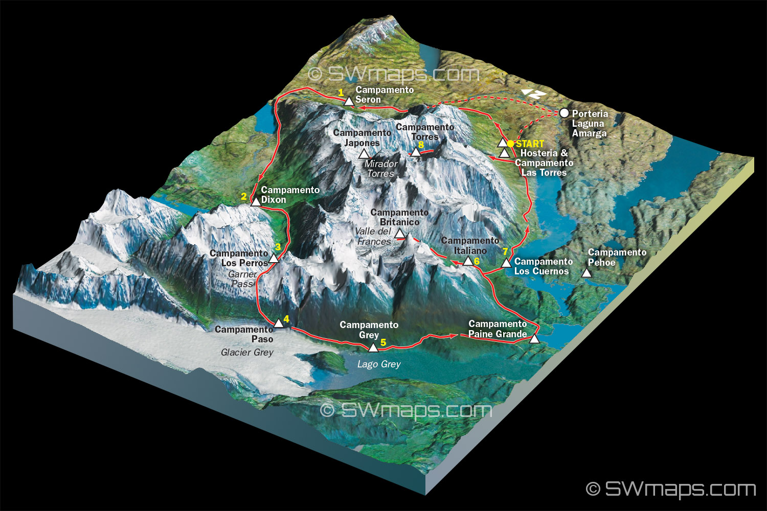 3D Torres del Paine Circuit Map SWmaps