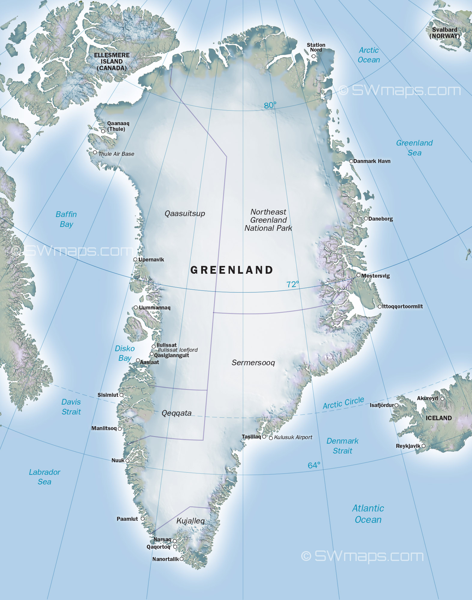 click for larger version. map of greenland  swmapscom