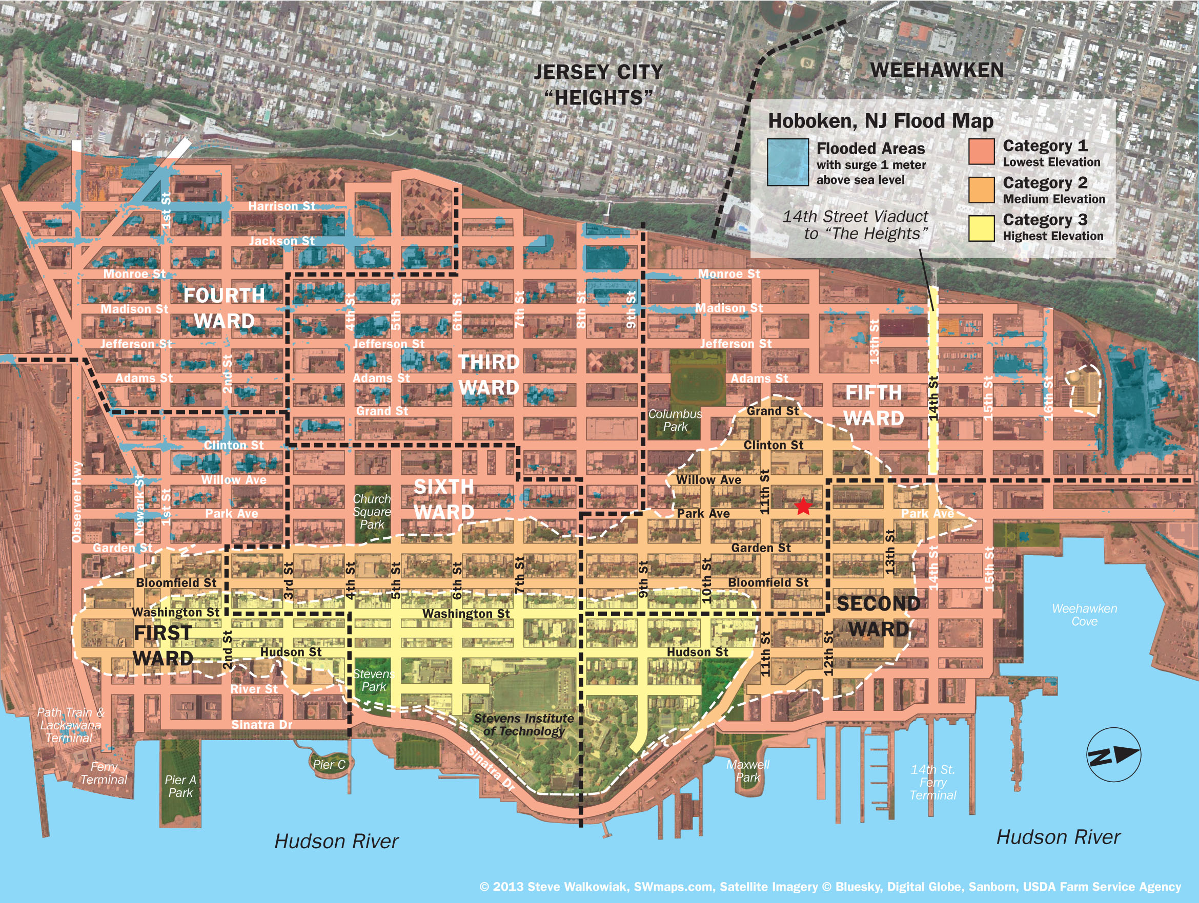 New Hoboken Flood Map With Water Levels Post Hurricane Sandy - Fema flood zone map florida