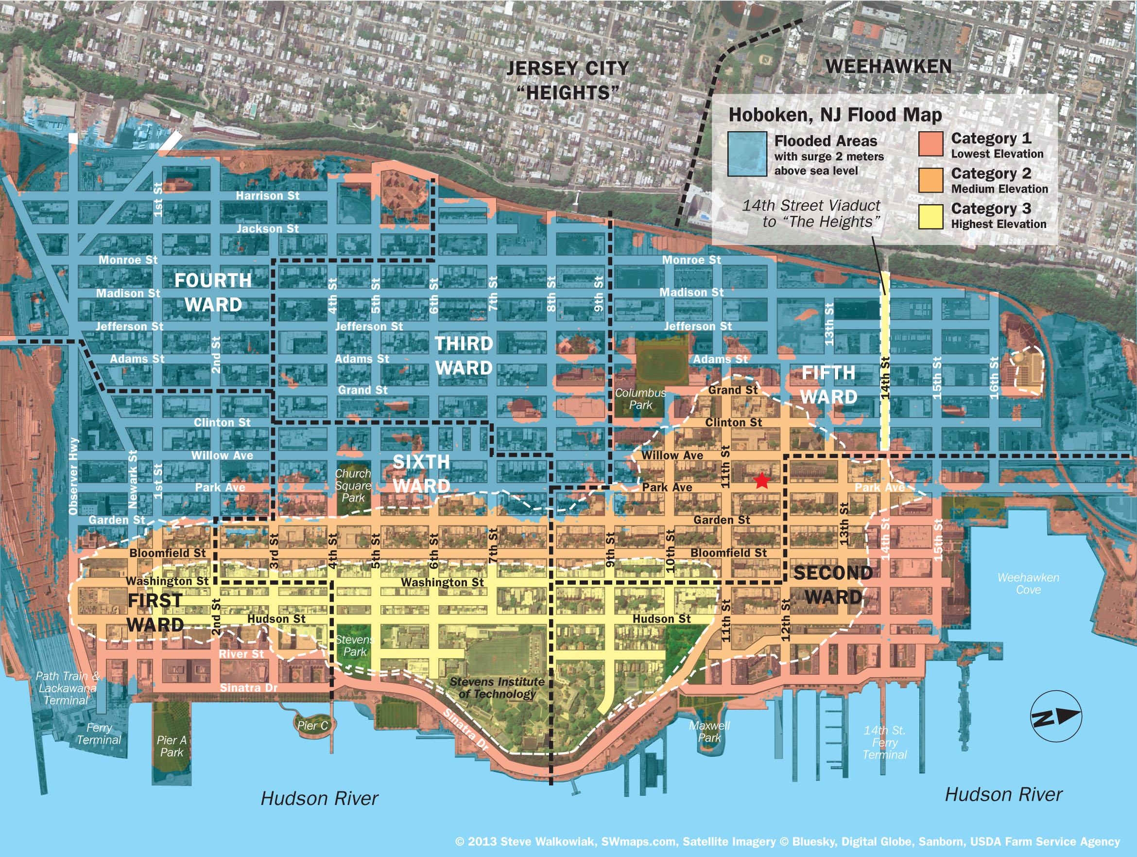 Water Elevation Map.New Hoboken Flood Map With Water Levels Post Hurricane Sandy