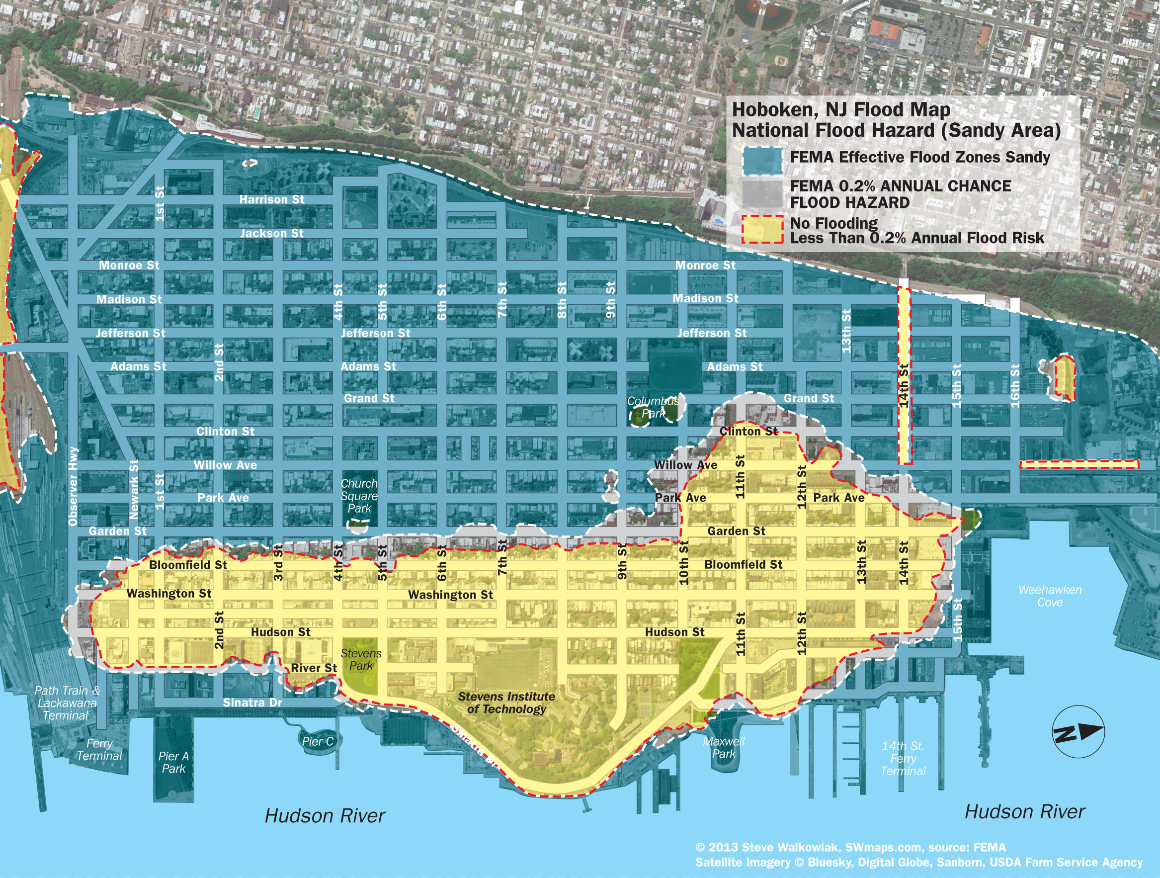 hoboken fema flood map. new hoboken flood map with water levels post hurricane sandy
