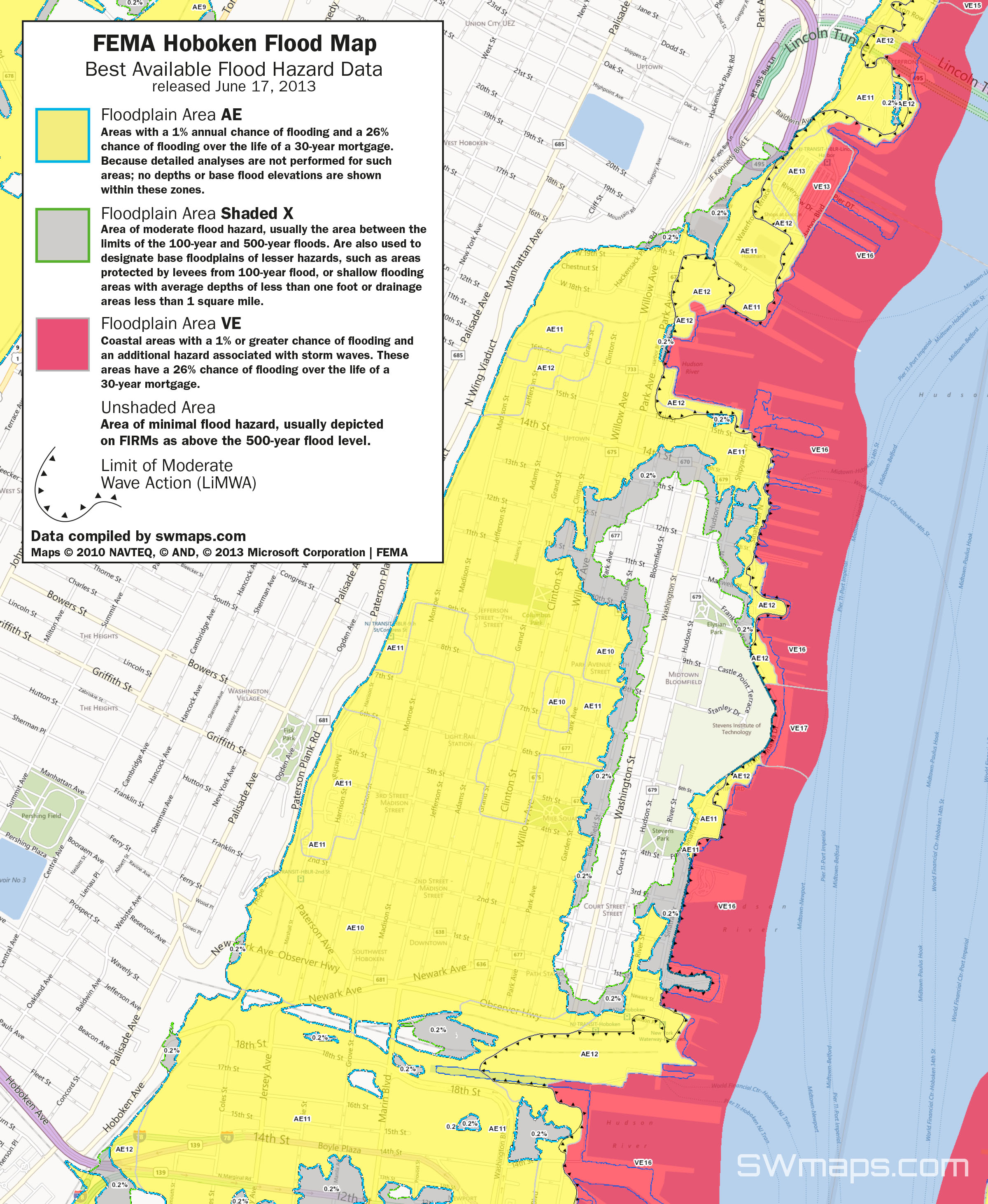 click for larger version. new hoboken flood map fema best available flood hazard data