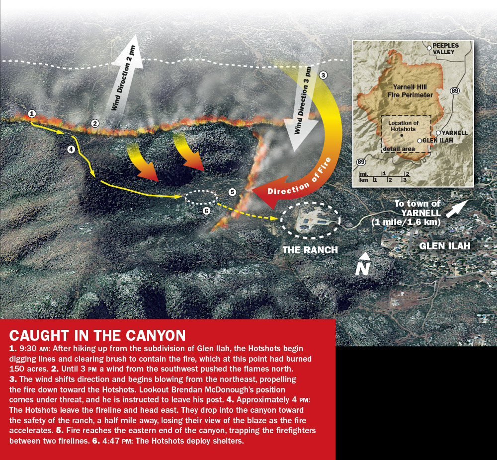 Yarnell Hill Fire Map (Granite Mountain Hotshots)   SWmaps.com