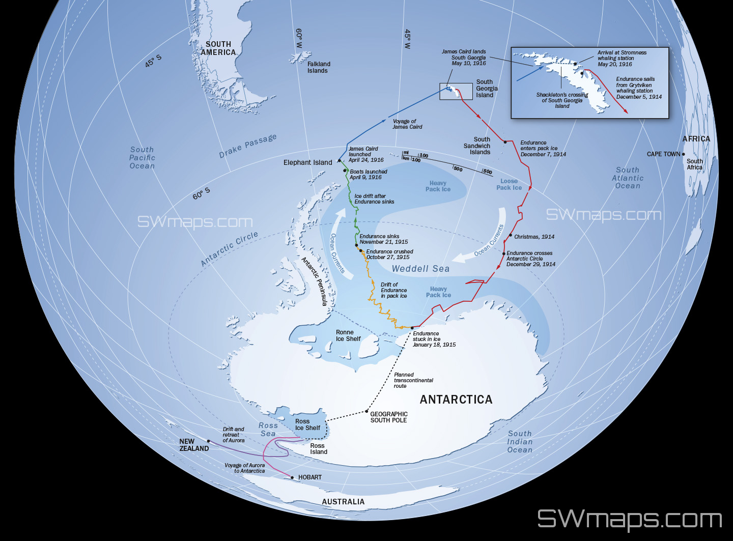 Route of Ernest Shackleton and the Endurance