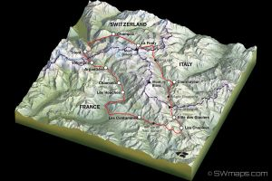 3D Tour du Mont Blanc Map